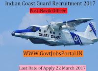 Indian Coast Guard Recruitment 2017 – Navik (General Duty)