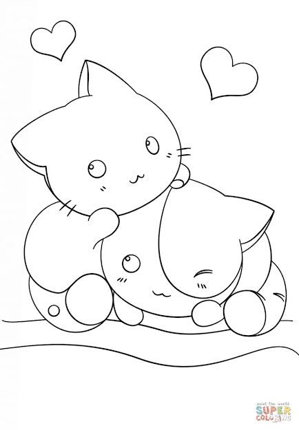 Click The Kawaii Kittens Coloring Pages To View Printable Version Or Color  It Online Patible With Ipad And Android Tablets