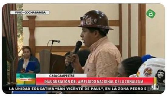 Huarachi en la inauguración del evento partidario del MAS que transmitió la estatal BTV / CAPTURA PANTALLA