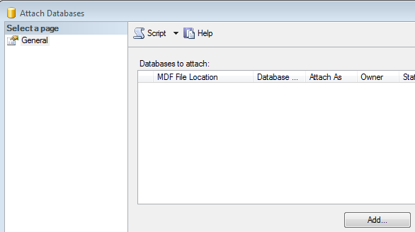 SQL Server Attach Databases Wizard