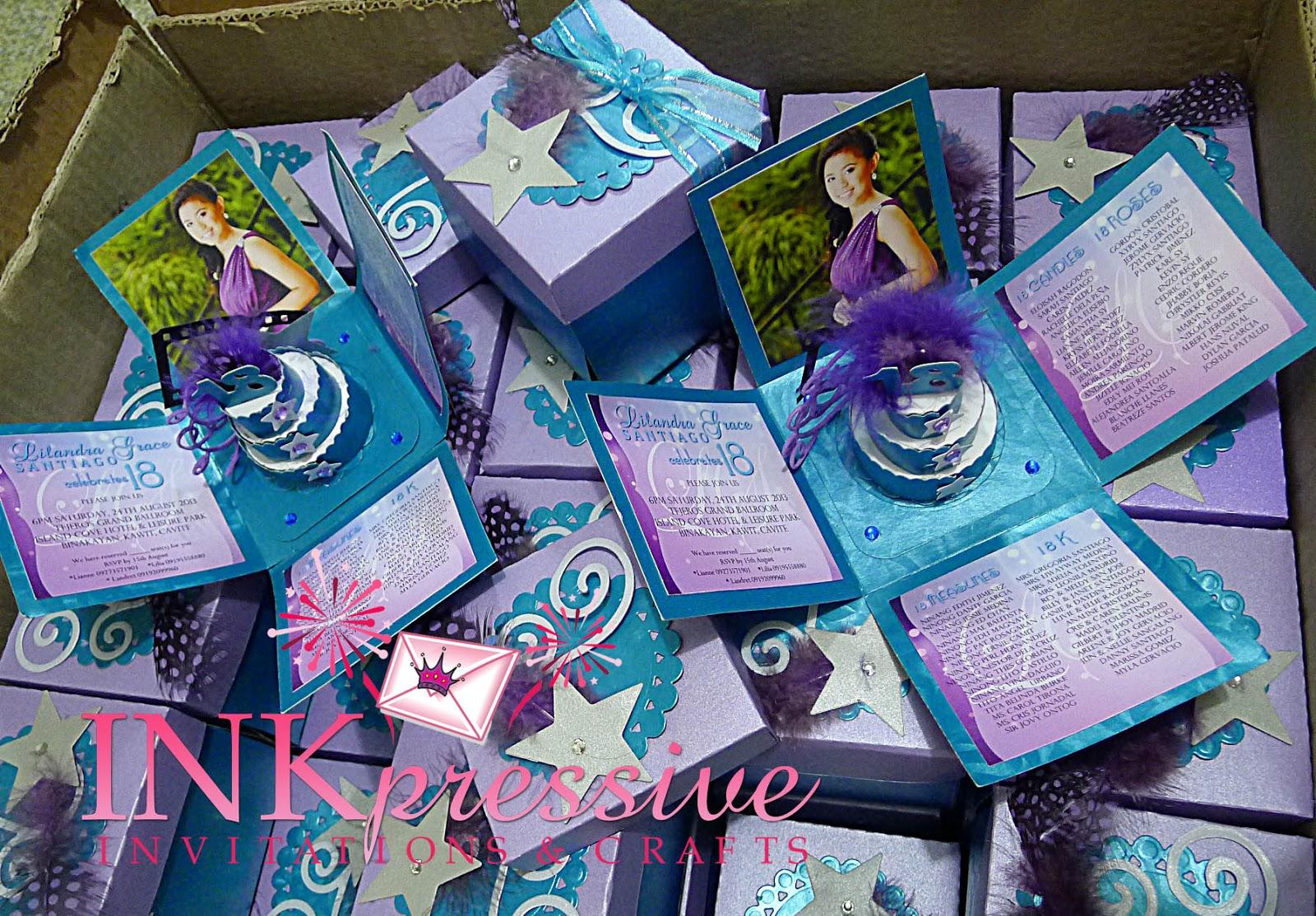 Exploding Box Invitation Movie Star Turquoise Purple