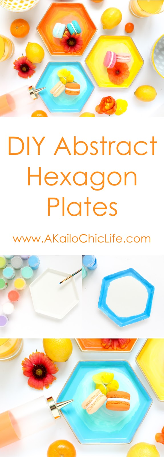 Learn how to paint your own DIY Abstract Art Plates - Hexagon Plates - Breakfast plates - DIY - Craft - DIY hexagon plates