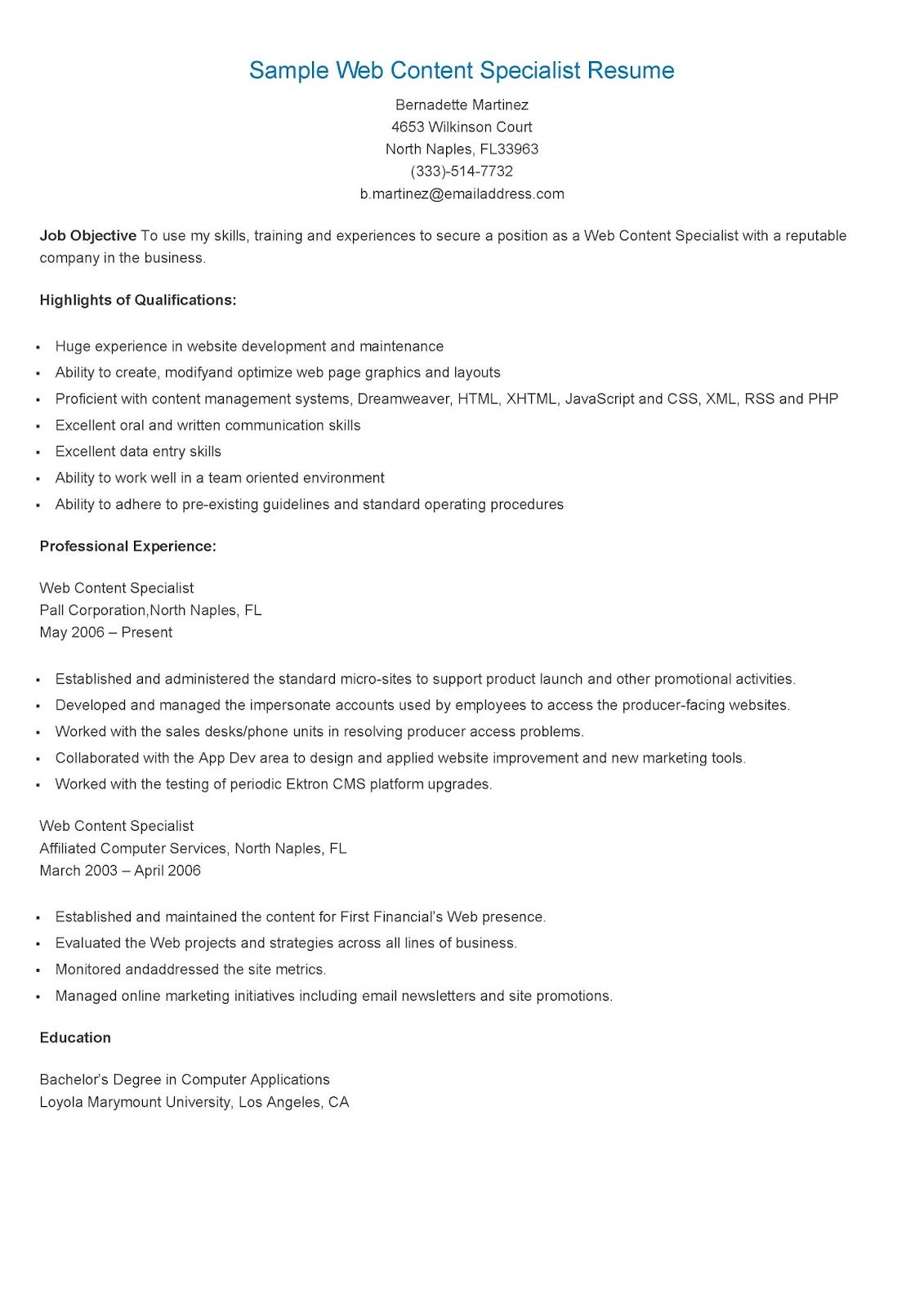 Resume Samples Sample Web Content Specialist Resume