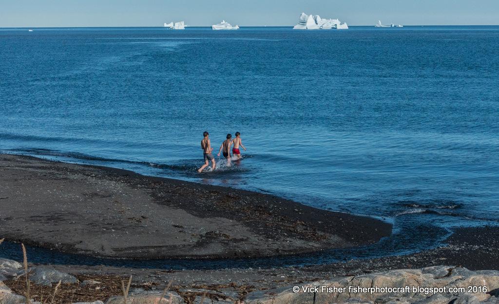 Greenland Disko Island Bay freezing cold swimming ice icebergs children swim dive Arctic