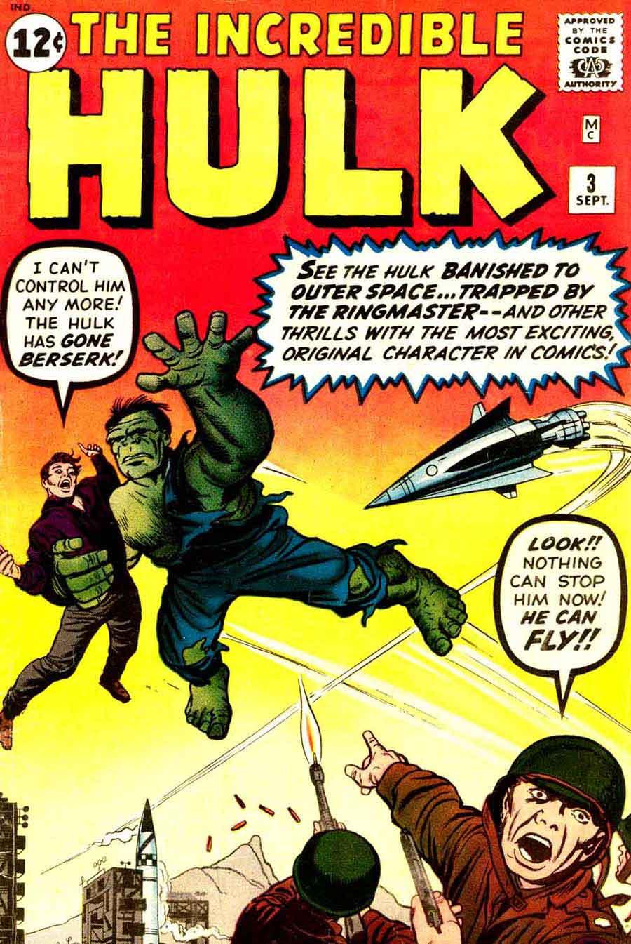 Incredible Hulk v1 3# marvel comic book cover art by Jack Kirby