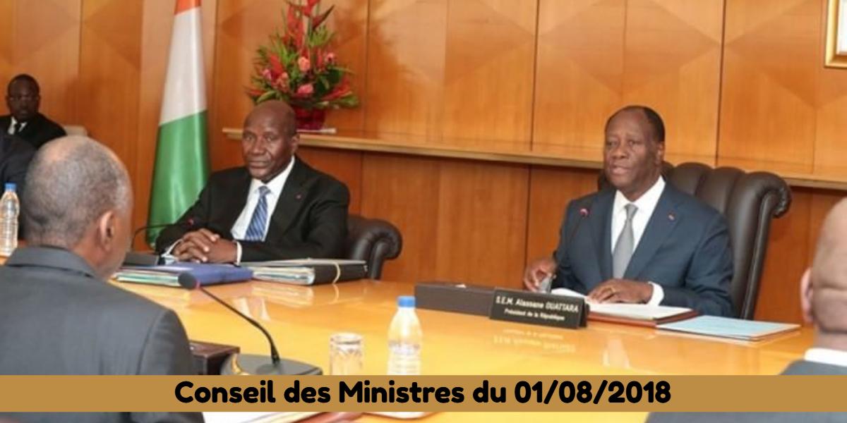 Projets de loi et de décrets récemment adoptés en Conseil des Ministres du 01/08/2018