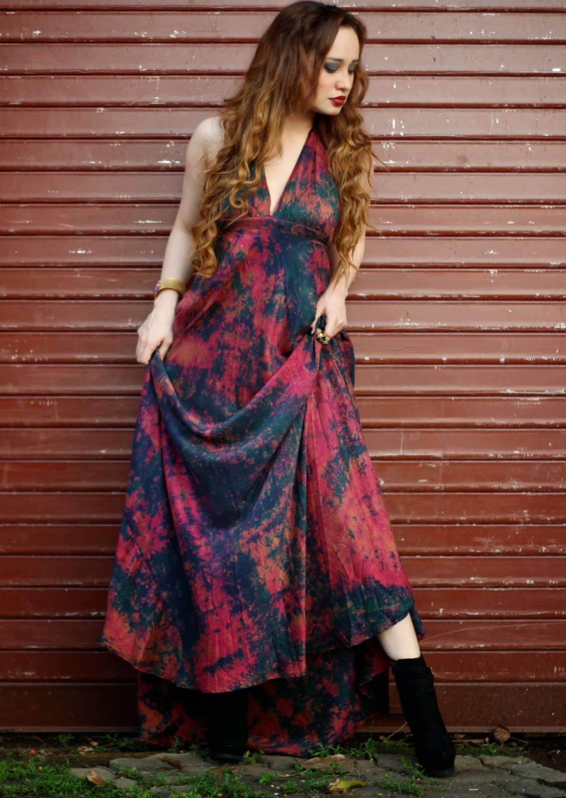 Batik Silk Maxi Dress worn with ankle boots, Bordeaux Lips