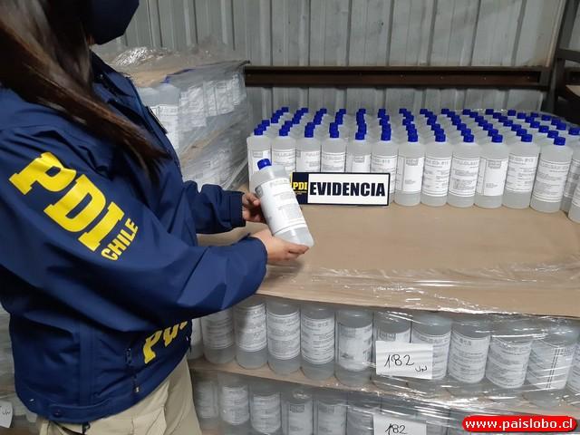 PDI incauta más de 3 mil litros de alcohol gel en Osorno y Valdivia