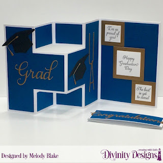 Divinity Designs Stamp Set: Dream Big, Custom Dies: Grad, Half-Shutter Card with Layers, Belly Band, Long and Lean Letters, Squares