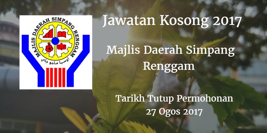 Majlis Daerah Simpang Renggam Jawatan Kosong MdSrenggam 27 Ogos 2017