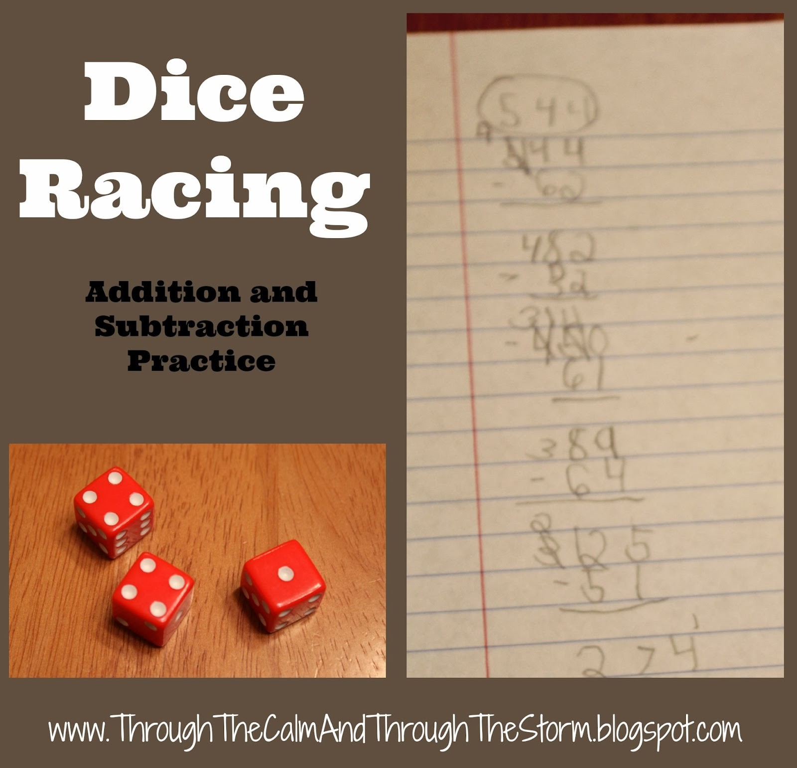 Through The Calm And Through The Storm Dice Racing Addition Subtraction Practice