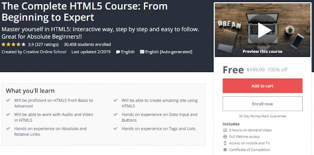 [100% Off] The Complete HTML5 Course: From Beginning to Expert| Worth 199,99$