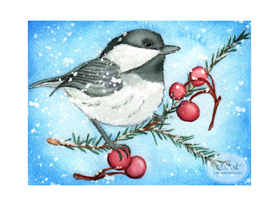 Black-Capped Chickadee Inktense Watercolor Illustration Art by Tawnya Boe