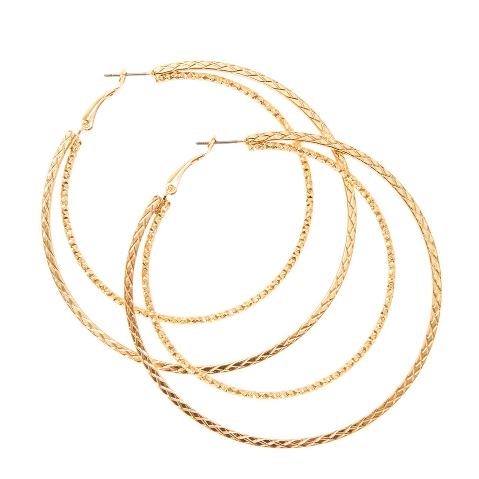 Claire's Gold Textured Double Hoop Earrings