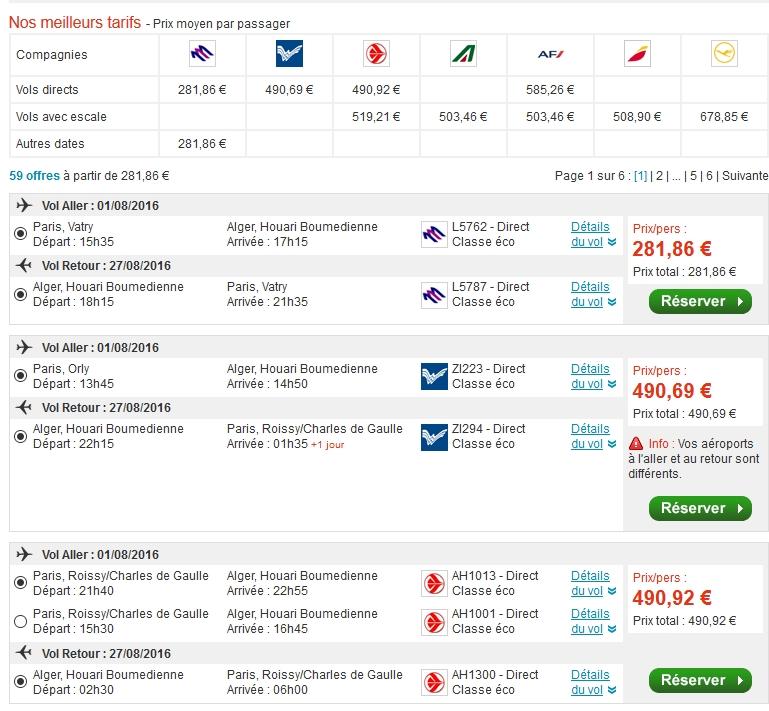 prix avion algerie