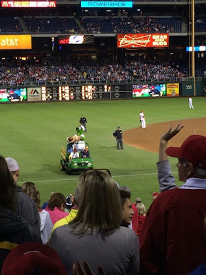 Phillie Phanatic and his hot dog launcher