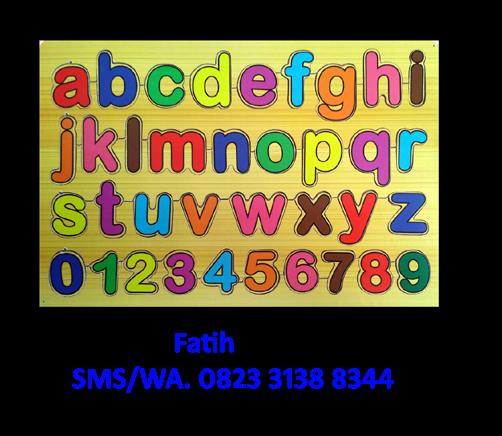 Puzzle Kayu Stiker Huruf Kecil Dan Angka