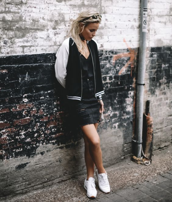 Happily Grey Varsity Bomber Jacket Black Ripped Denim Skirt Reebok Classic Sneakers