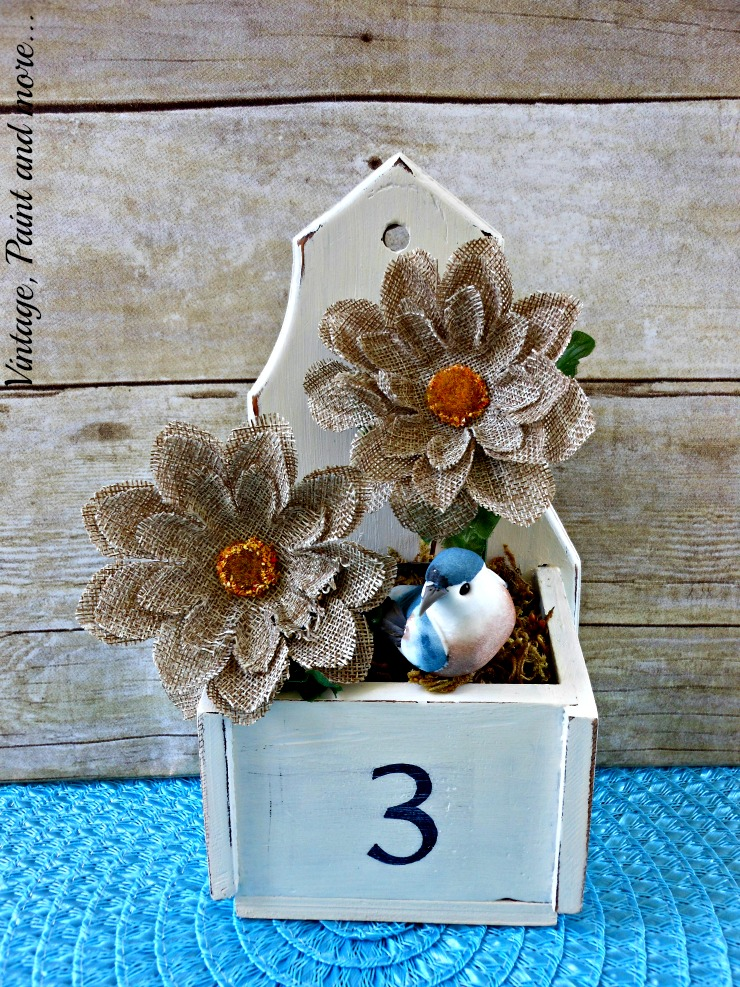 Vintage, Paint and more... thrifted vintage wood box made into vintage flower container with burlap flowers