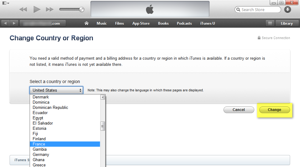 ipad itunes store switch cournty