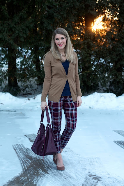 navy tee, boyfriend cardigan, plaid pants, wedges, burgundy bag