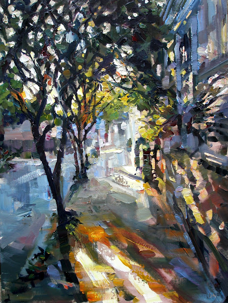 "Rick Reinert - ""studies In Sunlight And Rain"" ""queen Street Impasto"" Charleston Sc Painting"