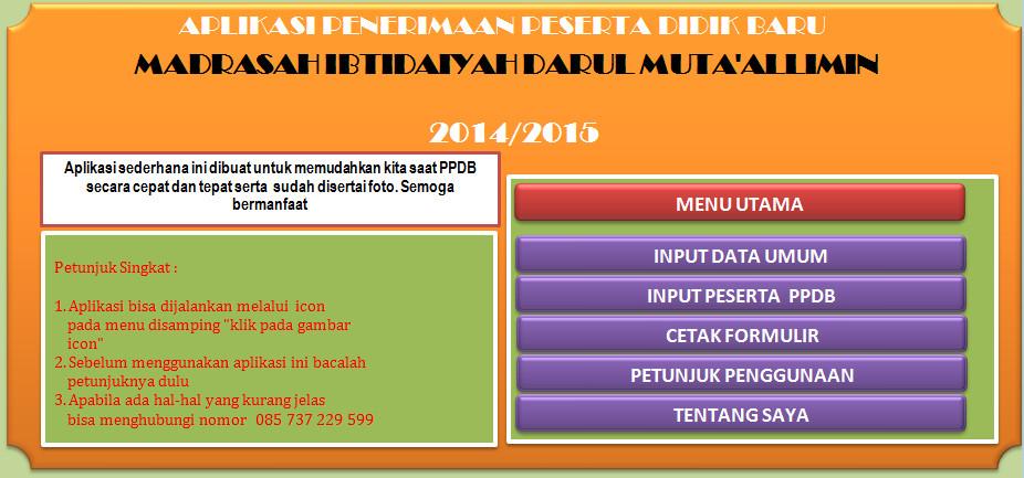 Download Aplikasi PPDB MISD + Foto Versi Terbaru Berbasis Ms. ExcelTerbaru (New Update)