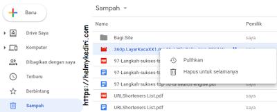 Mengembalikan file yang terhapus digoogledrive via komputer