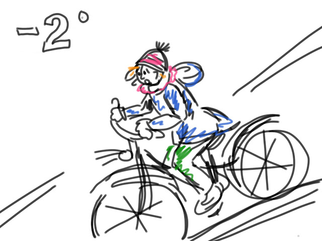 Zeichnung einer Radfahrerin, die einen Berg herunter fährt. Von Meike Kröger