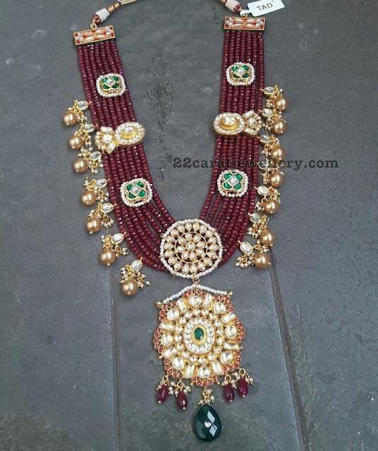Seven Layer Ruby Beads Kundan Set