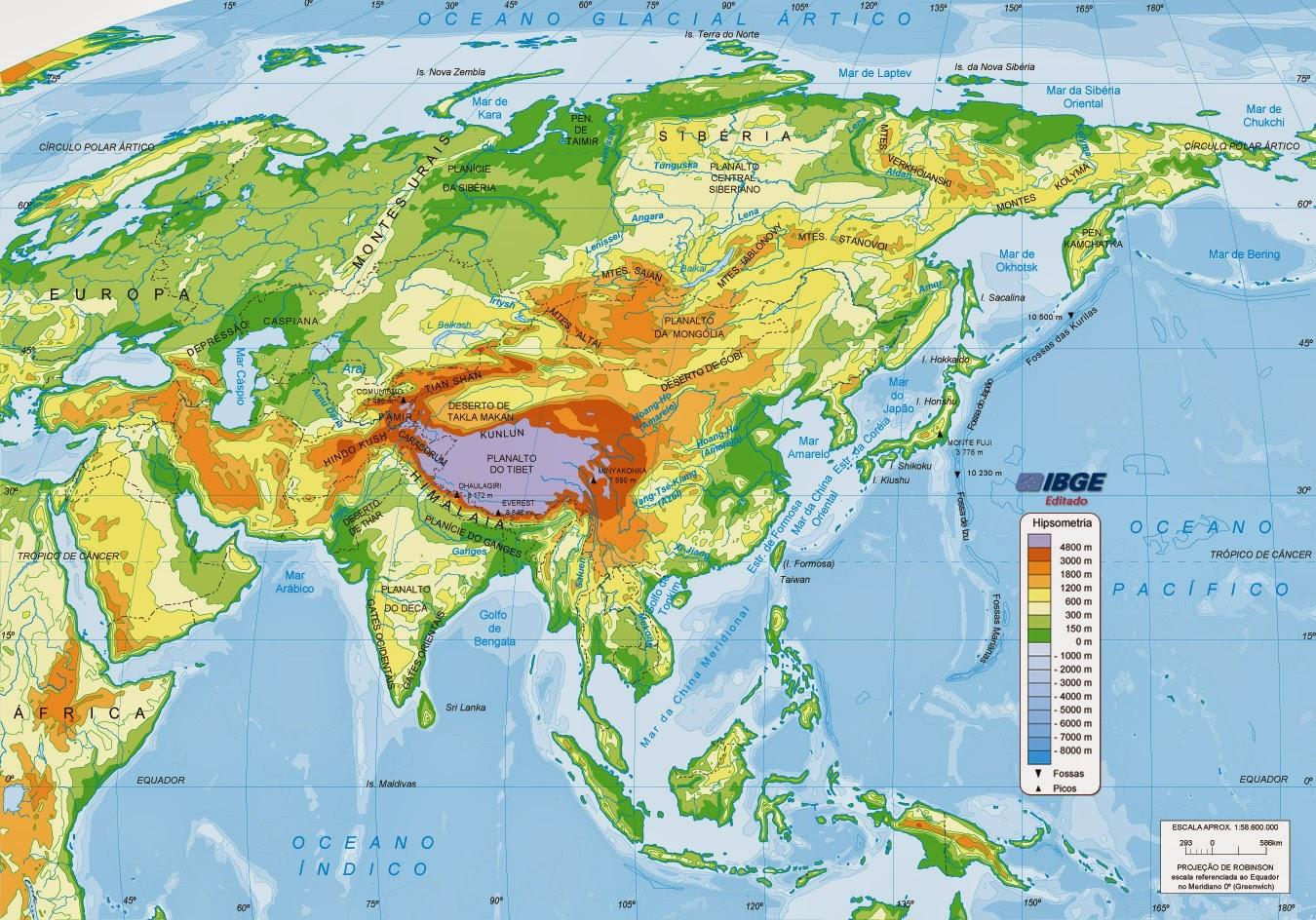Mapa Fisico De China.Mapa Fisico De China Montanas Rios Desiertos Y Mesetas