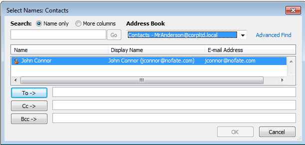 Screenshot of sample address book with single test contact
