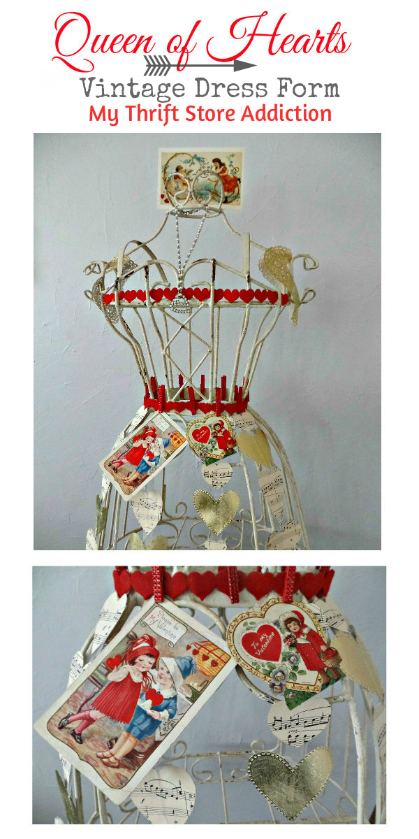 Queen of Hearts Dress Form...or Why I Still Play Dress Up! mythriftstoreaddiction.blogspot.com Vintage dress form styled as Valentine's decor!