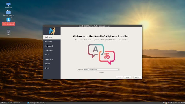 Namib GNU / Linux : Laurent Rabez submits his discovery of a new GNU / Linux distribution with a GNU / Linux based graphical installer based on ArchLinux. All the details and his experience.