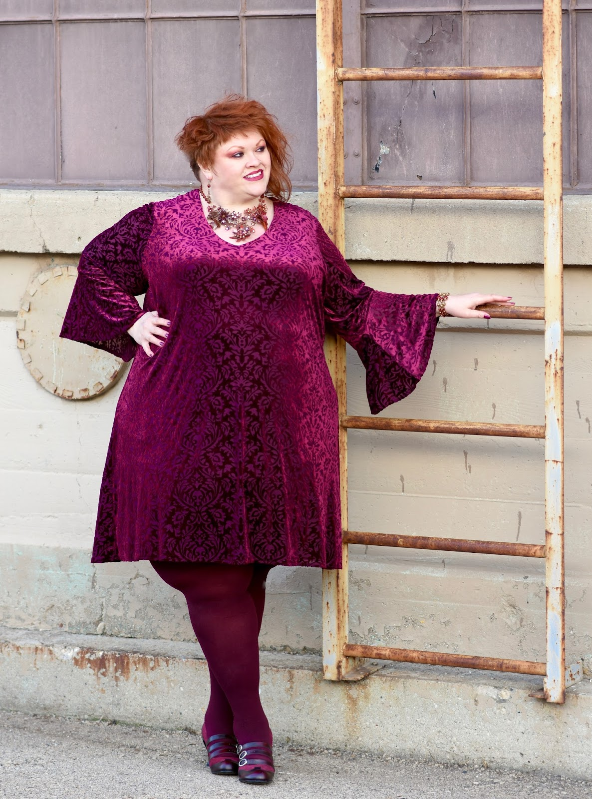 197b849c29 Dress  Bell Sleeve V-Neck Dress in Purple by Kaktus (size 4x) via Gwynnie  Bee (use my link to get your first month free   help me earn GB credit)