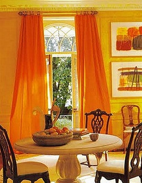 Awesome Orange Dining Room With Curtains And Wall