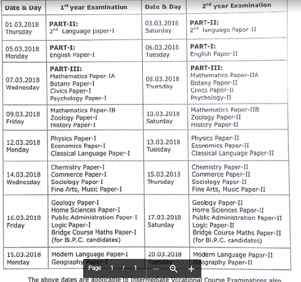 TS Intermediate 1st / 2nd Year Time Table 2018