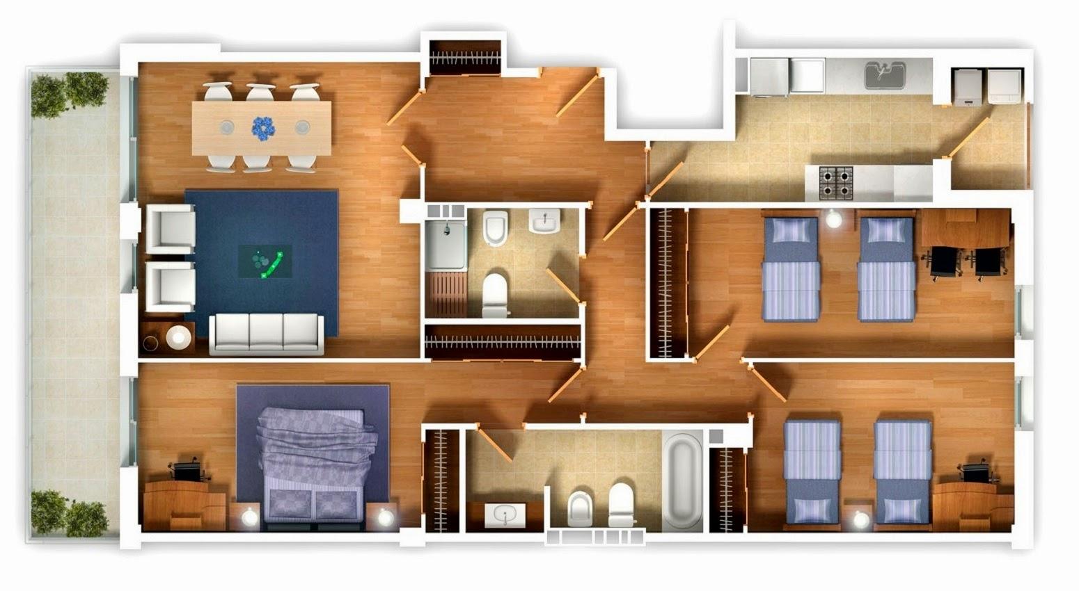 desain kamar tampak atas