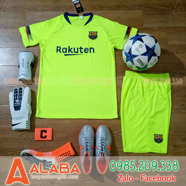 Áo Barca 2019 sân khách màu xanh chuối đẹp mắt