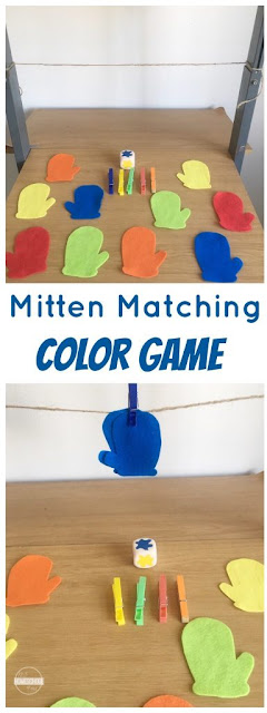 Mitten matching Color Game - this is such a fun winter themed activity to help kids practice identifying colors in toddler, preschool, and kindergarten.