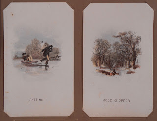 "Two cards mounted in album: ""Skating"" and ""Wood Chopper"""