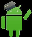 Logotipo de Android con un gorro de graduación