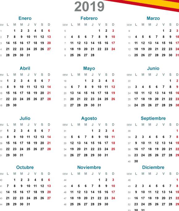 Calendario básico 2019 en español - Vector