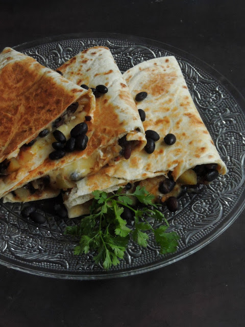 Cheese Black Beans & Potato Quesadillas
