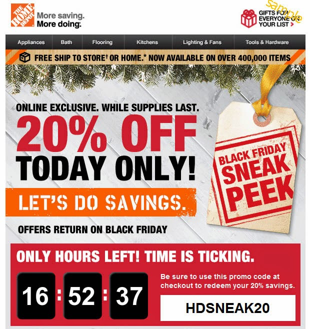 home depot online discount code