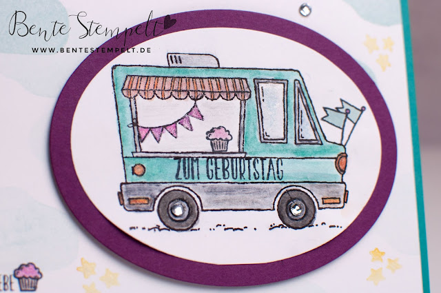 Stampin Up Lecker-Laster Ballonparty Food Truck Aquarellstifte Strass Auto Laster Wolken Sterne SAB 2017