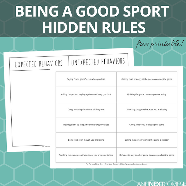 Free hidden rules social skills printable about how to be a good sport and a good loser from And Next Comes L