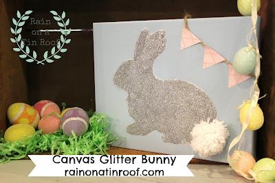 Canvas Glitter Bunny {rainonatinroof.com} #bunny #rabbit #glitter #Easter #craft