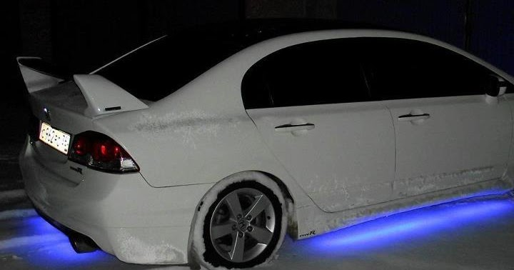 White Honda Civic Reborn With Blue Neon Modfocars