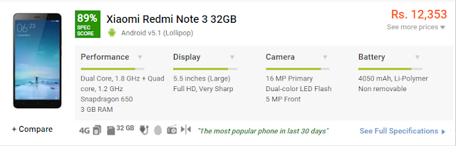 Xiaomi Redmi Note 3 32GB 3GB Ram Specification
